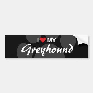 I Love (Heart) My Greyhound Bumper Sticker