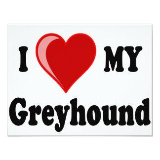 """I Love (Heart) My Greyhound Dog Gifts 4.25"""" X 5.5"""" Invitation Card"""