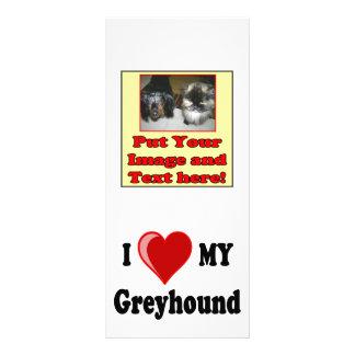 I Love (Heart) My Greyhound Dog Gifts Rack Card