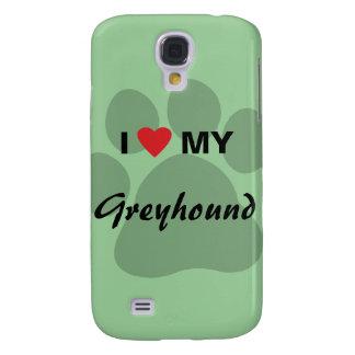 I Love (Heart) My Greyhound Paw Print Galaxy S4 Cover