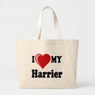 I Love (Heart) My Harrier Dog Canvas Bags
