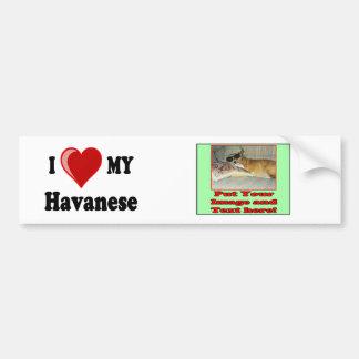 I Love (Heart) My Havanese Dog Car Bumper Sticker