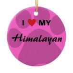 I Love (Heart) My Himalayan Pawprint Ceramic Ornament