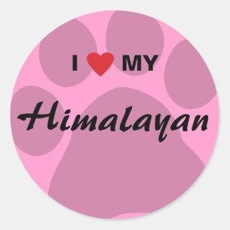 I Love (Heart) My Himalayan Pawprint Classic Round Sticker