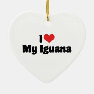 I Love Heart My Iguana - Lizard Lover Ceramic Ornament