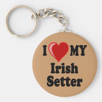 I Love (Heart) My Irish Setter Dog Basic Round Button Keychain