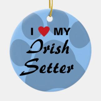 I Love (Heart) My Irish Setter Ornaments