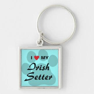 I Love (Heart) My Irish Setter Silver-Colored Square Keychain
