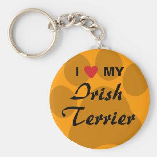 I Love (Heart) My Irish Terrier Basic Round Button Keychain