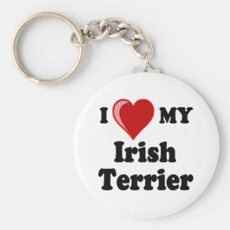 I Love (Heart) My Irish Terrier Dog Basic Round Button Keychain