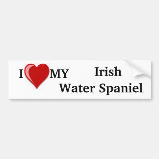 I Love (Heart) My Irish Water Spaniel Dog Car Bumper Sticker