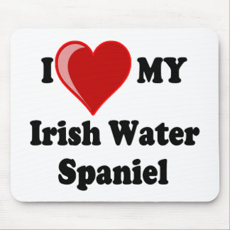 I Love (Heart) My Irish Water Spaniel Dog Mouse Pad