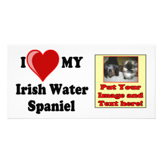 I Love (Heart) My Irish Water Spaniel Dog Custom Photo Card