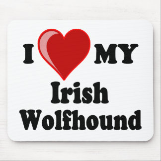 I Love (Heart) My Irish Wolfhound Dog Mouse Pad