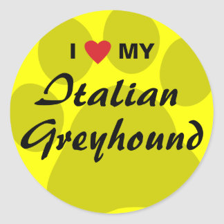 I Love (Heart) My Italian Greyhound Classic Round Sticker