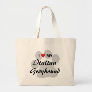 I Love (Heart) My Italian Greyhound Large Tote Bag