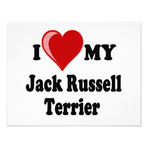 I Love (Heart) My Jack Russell Terrier Dog Custom Invites