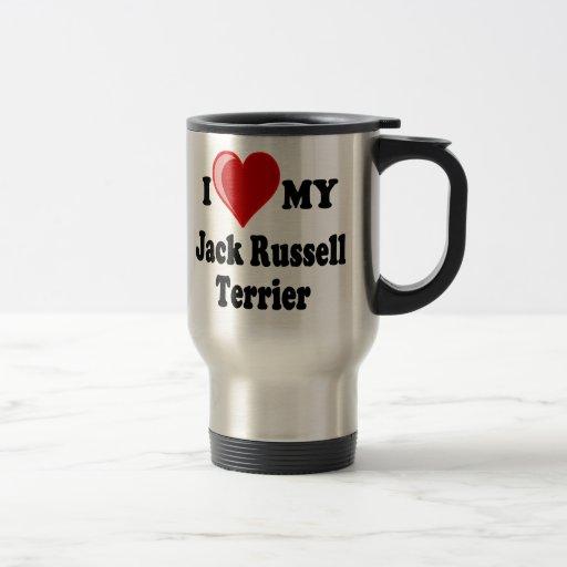 I Love (Heart) My Jack Russell Terrier Dog 15 Oz Stainless Steel Travel Mug