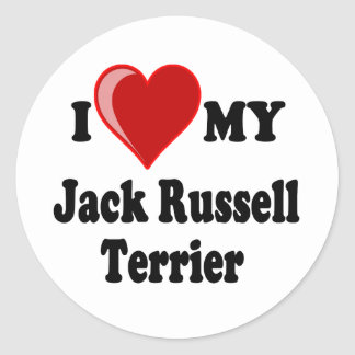I Love (Heart) My Jack Russell Terrier Dog Stickers
