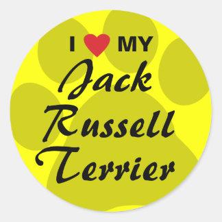 I Love (Heart) My Jack Russell Terrier Round Sticker