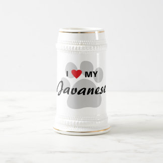 I Love (Heart) My Javanese Cat Pawprint Design Beer Stein