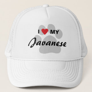 I Love (Heart) My Javanese Cat Pawprint Design Trucker Hat