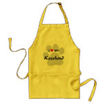 I Love (Heart) My Keeshond Pawprint Adult Apron