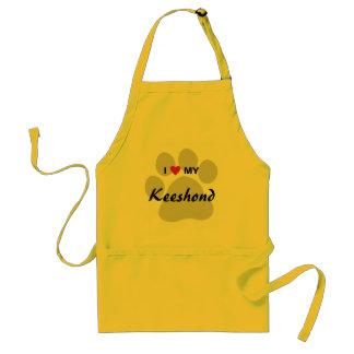I Love (Heart) My Keeshond Pawprint Adult Apron