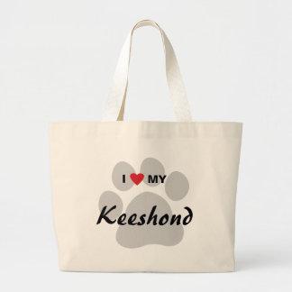 I Love (Heart) My Keeshond Pawprint Canvas Bags