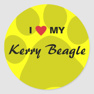 I Love (Heart) My Kerry Beagle Pawprint Classic Round Sticker