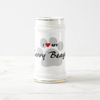 I Love (Heart) My Kerry Beagle Pawprint 18 Oz Beer Stein