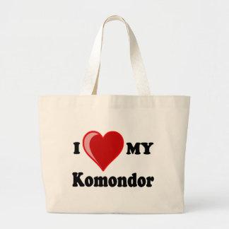 I Love (Heart) My Komondor Dog Large Tote Bag