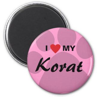 I Love (Heart) My Korat Cat Pawprint Design 2 Inch Round Magnet