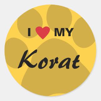 I Love (Heart) My Korat Cat Pawprint Design Classic Round Sticker