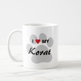 I Love (Heart) My Korat Cat Pawprint Design Classic White Coffee Mug