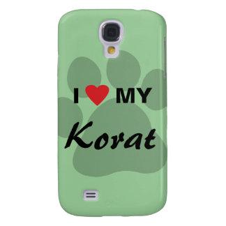 I Love (Heart) My Korat Cat Pawprint Design Samsung S4 Case