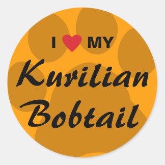 I Love (Heart) My Kurilian Bobtail Pawprint Design Classic Round Sticker