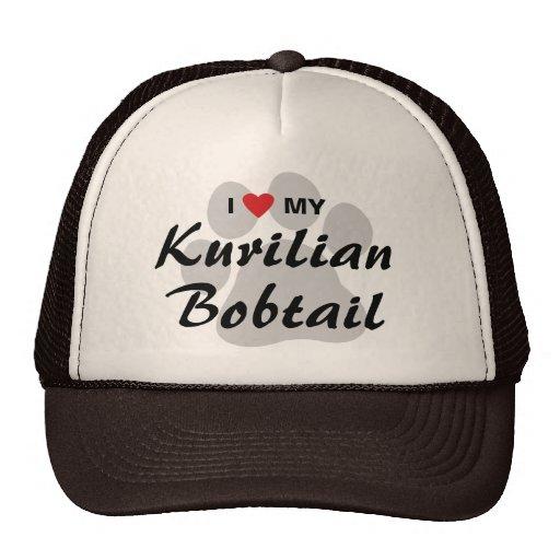 I Love (Heart) My Kurilian Bobtail Pawprint Design Mesh Hats