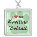 I Love (Heart) My Kurilian Bobtail Pawprint Design Silver Plated Necklace