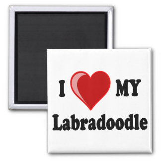 I Love (Heart) My Labradoodle Dog 2 Inch Square Magnet
