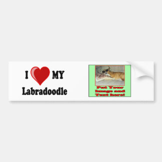 I Love (Heart) My Labradoodle Dog Bumper Sticker