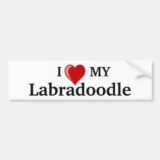 I Love (Heart) My Labradoodle Dog Car Bumper Sticker