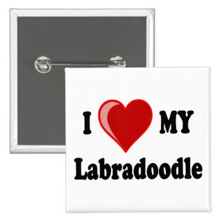 I Love (Heart) My Labradoodle Dog Pinback Button