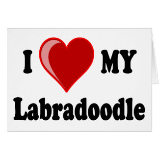 I Love (Heart) My Labradoodle Dog Card