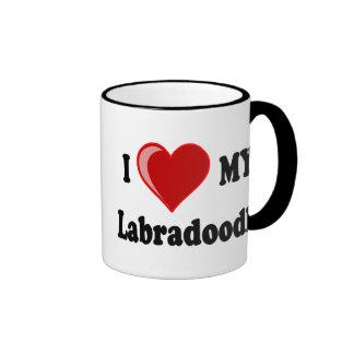 I Love (Heart) My Labradoodle Dog Ringer Mug