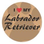 I Love (Heart) My Labrador Retriever Pawprint Classic Round Sticker