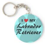 I Love (Heart) My Labrador Retriever Pawprint Keychain