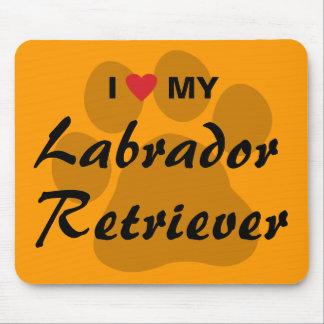 I Love (Heart) My Labrador Retriever Pawprint Mouse Pad