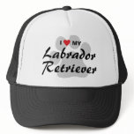 I Love (Heart) My Labrador Retriever Pawprint Trucker Hat