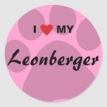 I Love (Heart) My Leonberger Pawprint Classic Round Sticker